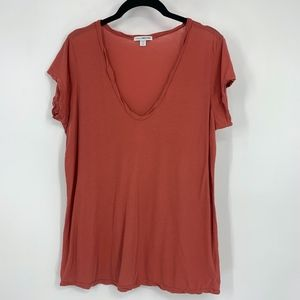 James Perse Twisted Scoop Neck Tee Shirt